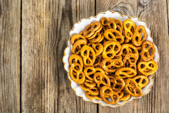 Fresh small pretzels in white bowl Stock Photography