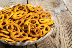 Fresh small pretzels in white bowl Royalty Free Stock Photo
