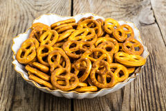 Fresh small pretzels in white bowl Stock Image