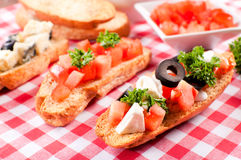 Fresh mini sadnwiches Royalty Free Stock Image