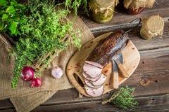 Fresh smoked ham in pantry Royalty Free Stock Photos