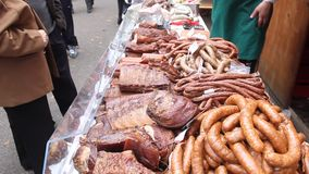 Fresh smoked pork products stock footage