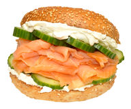 Fresh Smoked Salmon And Cream Cheese Bagel Sandwich Royalty Free Stock Photography