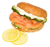 Fresh Smoked Salmon And Cream Cheese Bagel Sandwich Stock Image