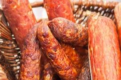 Fresh smoked sausage stick Royalty Free Stock Photos