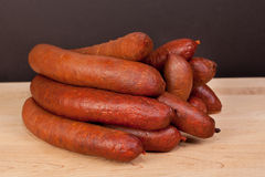 Fresh smoked sausages stock Royalty Free Stock Photo