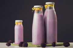Fresh smoothie with blueberries. ripe blueberries. health and di Stock Image