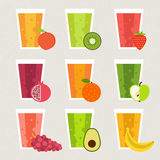 Fresh Smoothie. Fruit smoothie collection. Menu element for cafe or restaurant with energetic fresh drink made in flat style. Fresh juice for healthy life Royalty Free Stock Photography