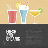 Fresh Smoothie. Fruit smoothie vector concept. Menu element for cafe or restaurant with energetic fresh drink made in flat style. Fresh juice for healthy life Stock Image