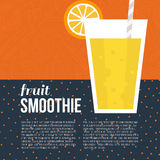 Fresh Smoothie. Fruit smoothie vector concept. Menu element for cafe or restaurant with energetic fresh drink made in flat style. Fresh juice for healthy life Stock Images