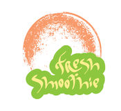 Fresh smoothie hand drawn text with glass Royalty Free Stock Images
