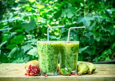 Fresh smoothie with kiwi, banana and pomegranate seeds. On the summer background royalty free stock photo