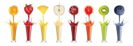 Fresh smoothie set. Fresh smoothie set on white bacground. All kinds of fruits shakes vector illustration