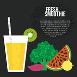 Fresh Smoothie. Vector concept. Menu element for cafe or restaurant with energetic fresh drink made in flat style. Fresh juice for healthy life. Organic raw Royalty Free Stock Photography