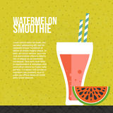 Fresh Smoothie. Watermelon smoothie vector concept. Menu element for cafe or restaurant with energetic fresh drink made in flat style. Fresh juice for healthy Stock Photos