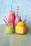 Fresh smoothies. Fresh blended Fruit Smoothies in jar Royalty Free Stock Image