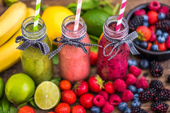 Fresh Smoothies and Fruit Royalty Free Stock Photography