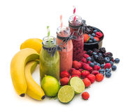 Fresh Smoothies and Fruit Stock Images