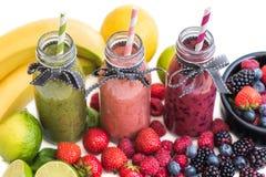 Fresh Smoothies and Fruit Royalty Free Stock Photos