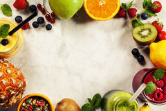 Fresh smoothies and fruits Royalty Free Stock Photo