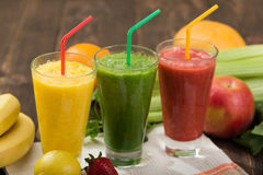 Fresh smoothies in glass Stock Images