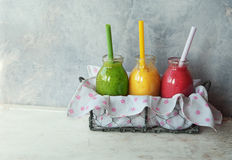 Fresh smoothies in jar royalty free stock photography