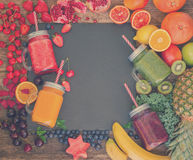 Fresh smoothy drink with igredients Stock Photos