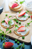 Fresh Snack Crisp Cookie Cottage Cheese Strawberry Royalty Free Stock Images