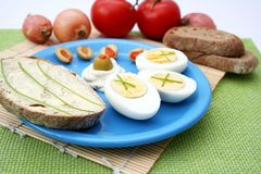 Fresh snack with eggs Stock Photo