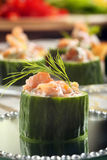 Fresh snack with smoked salmon and dill.  Stock Images