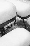 Fresh snow. Covers deck/patio furniture Stock Image