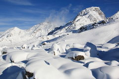 Fresh snow. A sunny day in austrian Alps after a snowing night stock photography