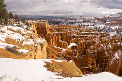 Fresh Snow Blankets Bryce Canyon Rock Formations Utah USA Stock Image