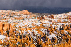 Fresh Snow Blankets Bryce Canyon Rock Formations Utah USA Stock Photos