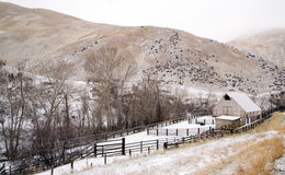 Fresh Snow Blankets Hillside Rural Country Scene Forgotten Ranch Royalty Free Stock Photography