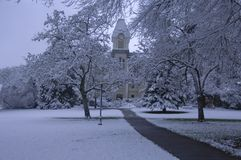 Fresh snow on campus Stock Photos