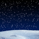 Fresh snow cover, at night. Winter background stock photos