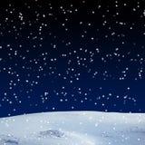 Fresh snow cover, at night Stock Photos