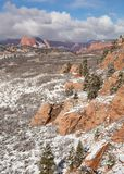 Fresh snow covers the red rock and ponderosa pines in Hop Valley along the Kolob Terrace road in Southern Utah.  stock images