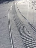 Fresh snow groomer tracks Royalty Free Stock Photo