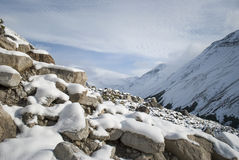 Fresh snow had fallen while walking to Torres del Paine highligh Stock Image
