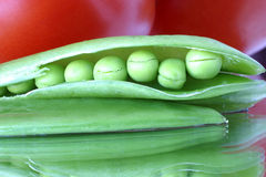 Fresh snow peas in a pod close-up. A colorful abstract Stock Photography