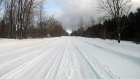 Fresh Snow Rural Two Lane Road Winter Landscape stock video