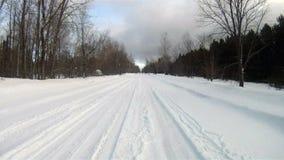 Fresh Snow Rural Two Lane Road Winter Landscape stock video