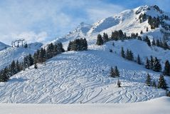 Fresh Snow on Ski Slope Stock Photos
