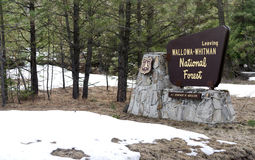 Fresh snow stands around the sign at Wallowa-Whitman National Fo Stock Photos