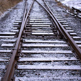 Fresh Snow on Train Tracks Stock Image