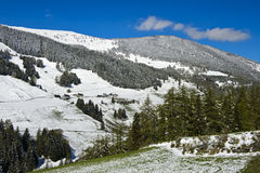 Fresh snow in the Val d`Entremont valley, Switzerland Stock Photo