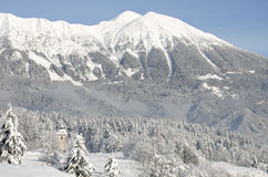 Fresh snowfall over mountains and trees. Small church at left side Stock Photo