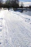 Fresh Snowmobile Tracks Stock Photos